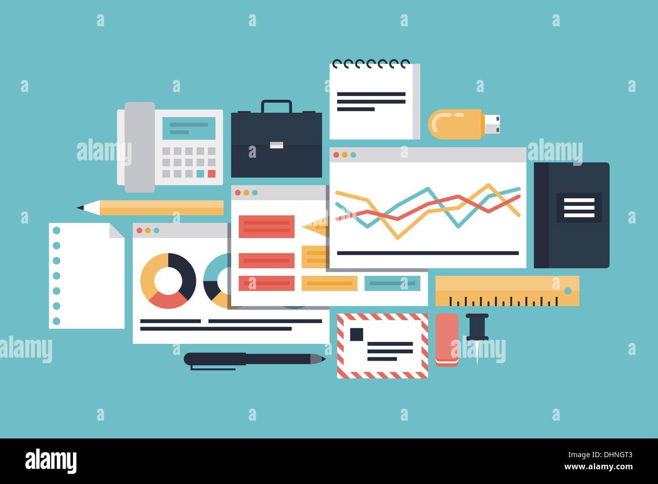 Modern stylish illustration of business productivity development and market process with diagram and charts - Stock Image