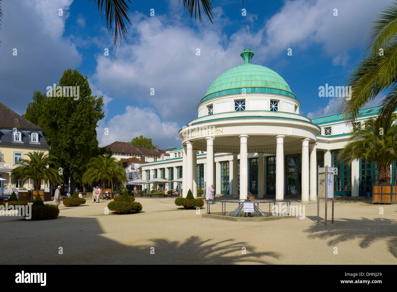 Pump room and the Hyllige Born, Bad Pyrmont, Lower Saxony, Germany - Stock Image