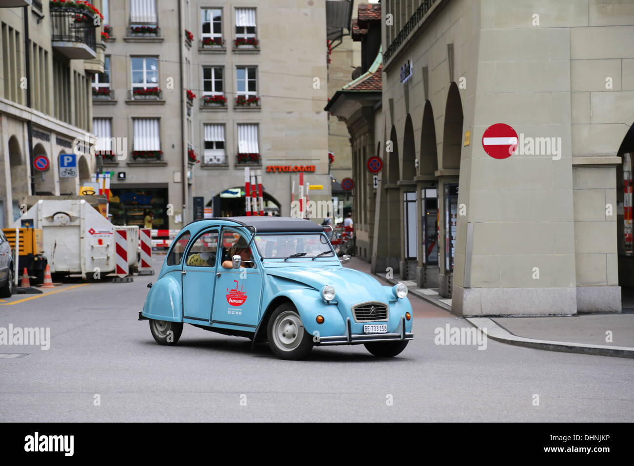 Blue car in Bern, Switzerland Stock Photo