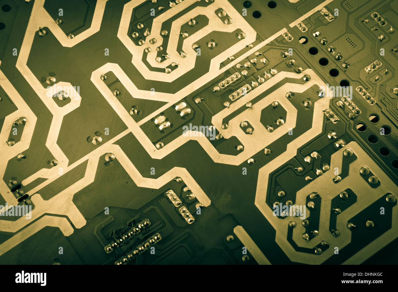 computer board with chips and components - Stock Image