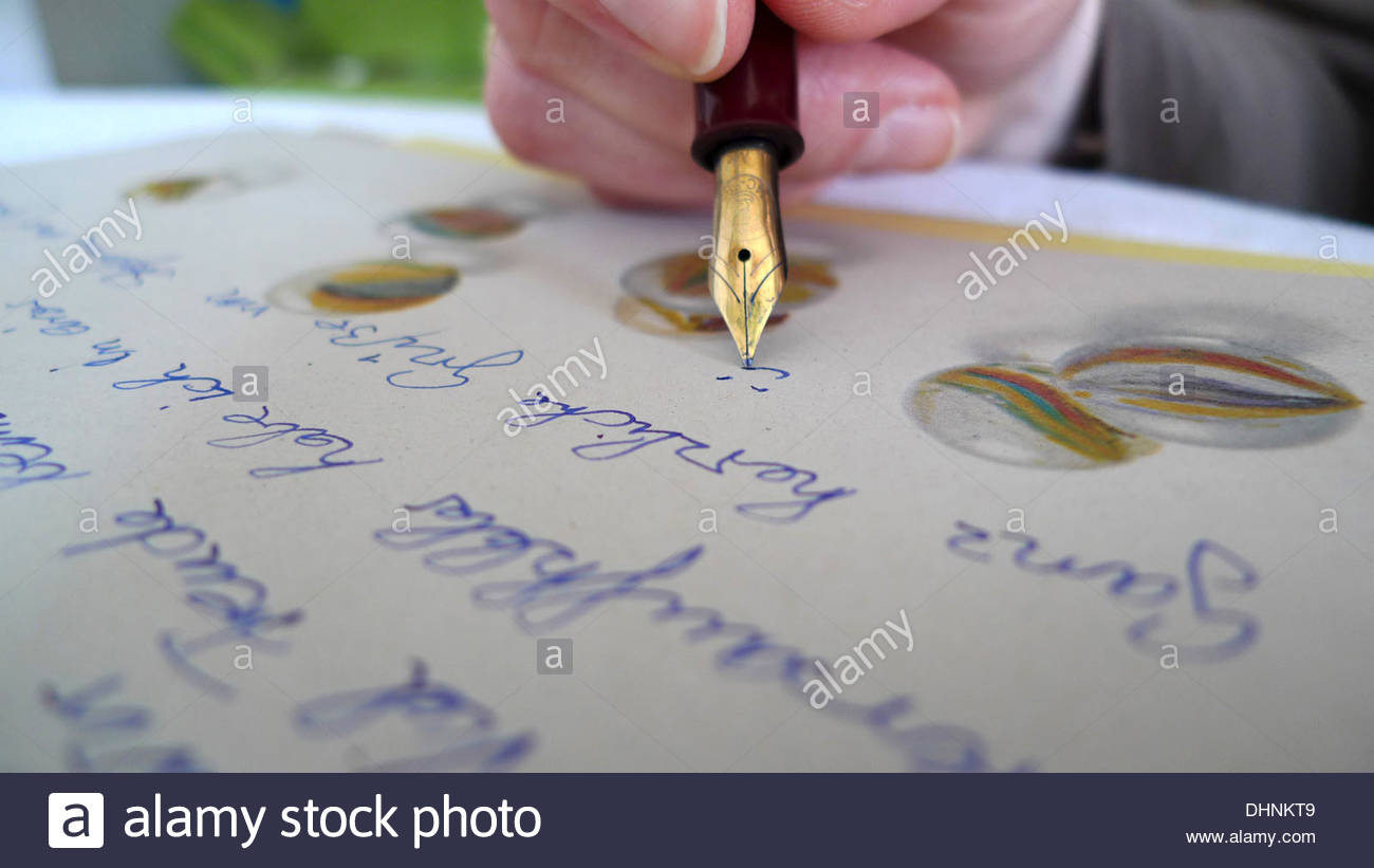 Writing a letter, handwritten - Stock Image