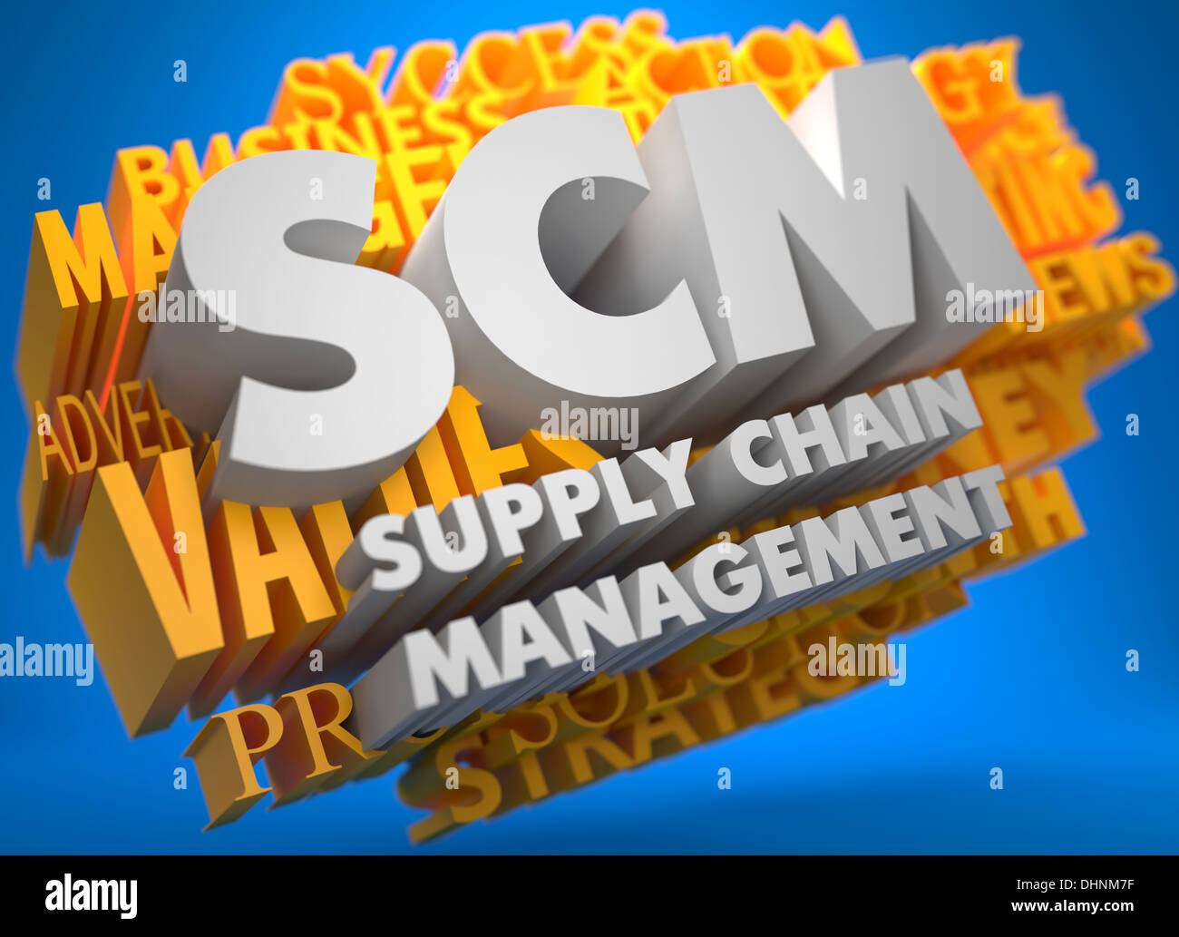 SCM. Business Concept. Stock Photo