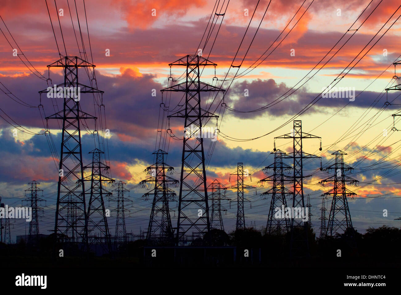 Power pylons, Christchurch, Canterbury, South Island, New Zealand - Stock Image