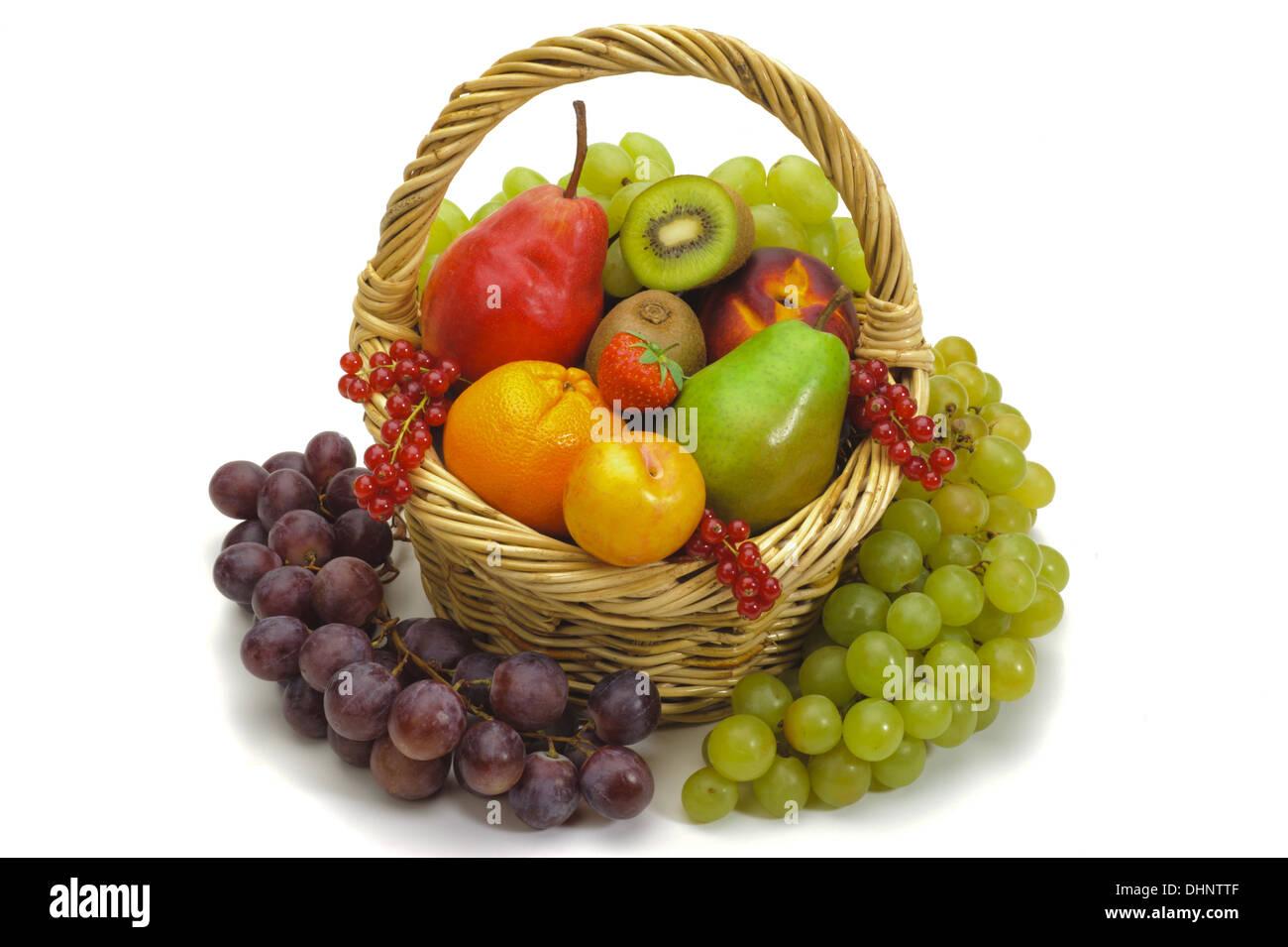 basket with fresh mixed fruits Stock Photo