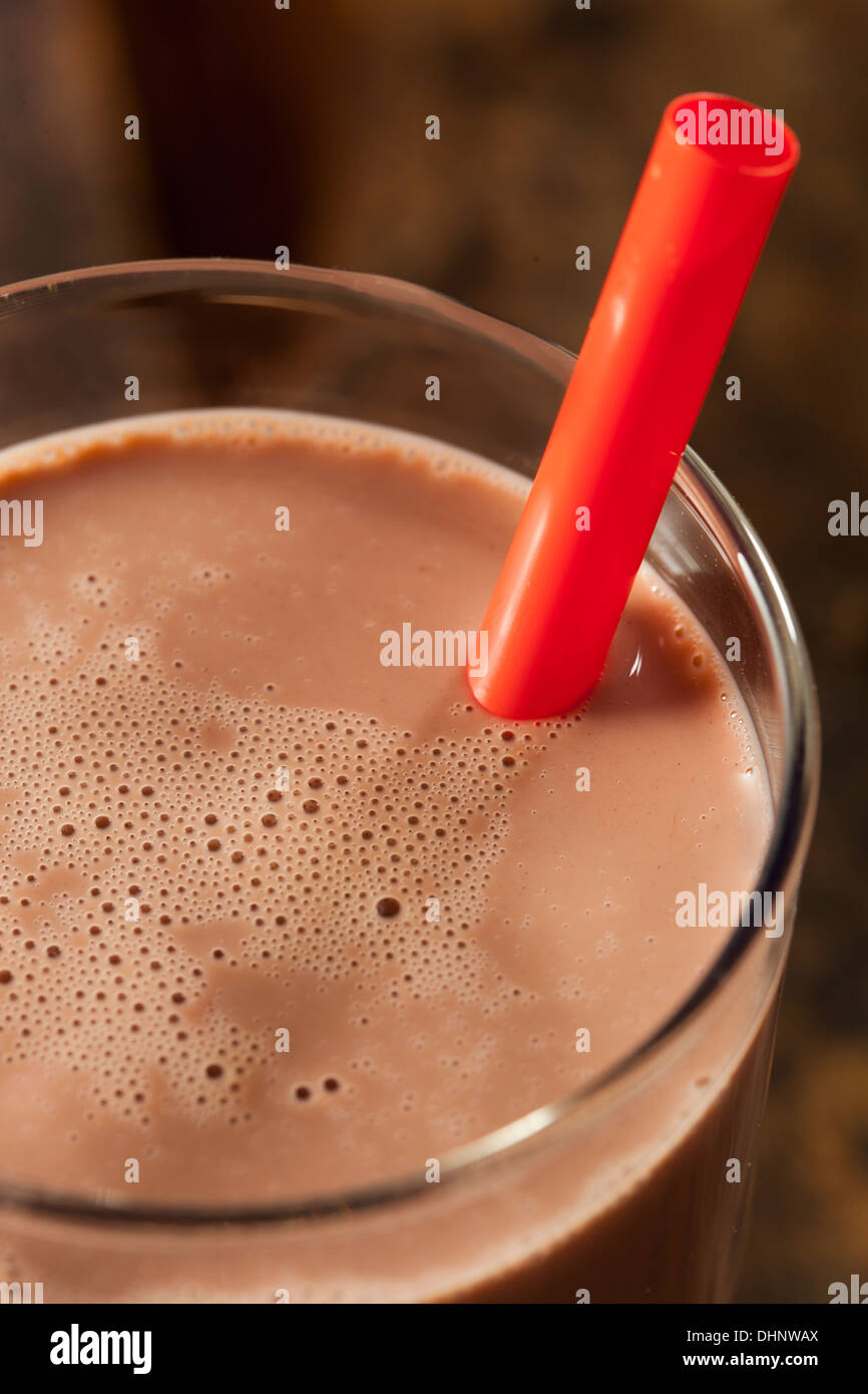 Refreshing Delicious Chocolate Milk with Real Cocoa - Stock Image