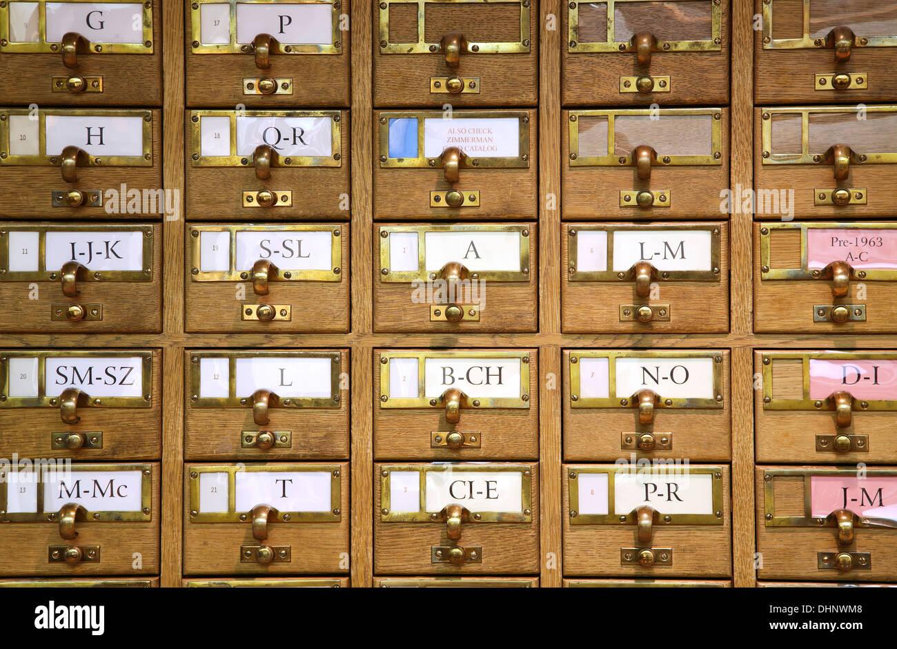 Card catalog, Zimmerman Library, University of New Mexico Campus, Albuquerque, New Mexico USA - Stock Image