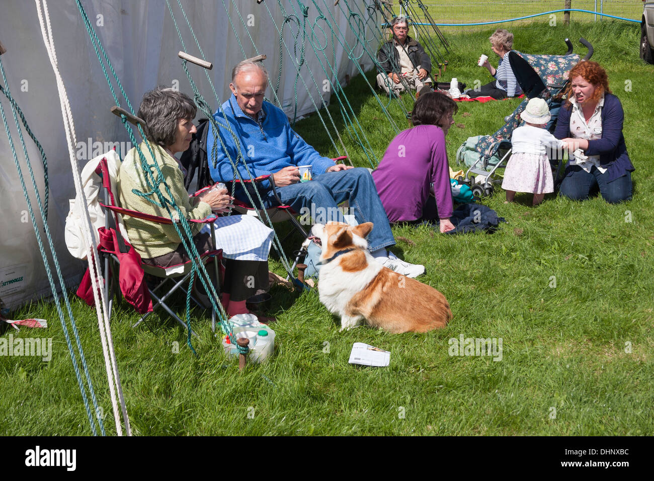 Families and pets relax at country show - Stock Image