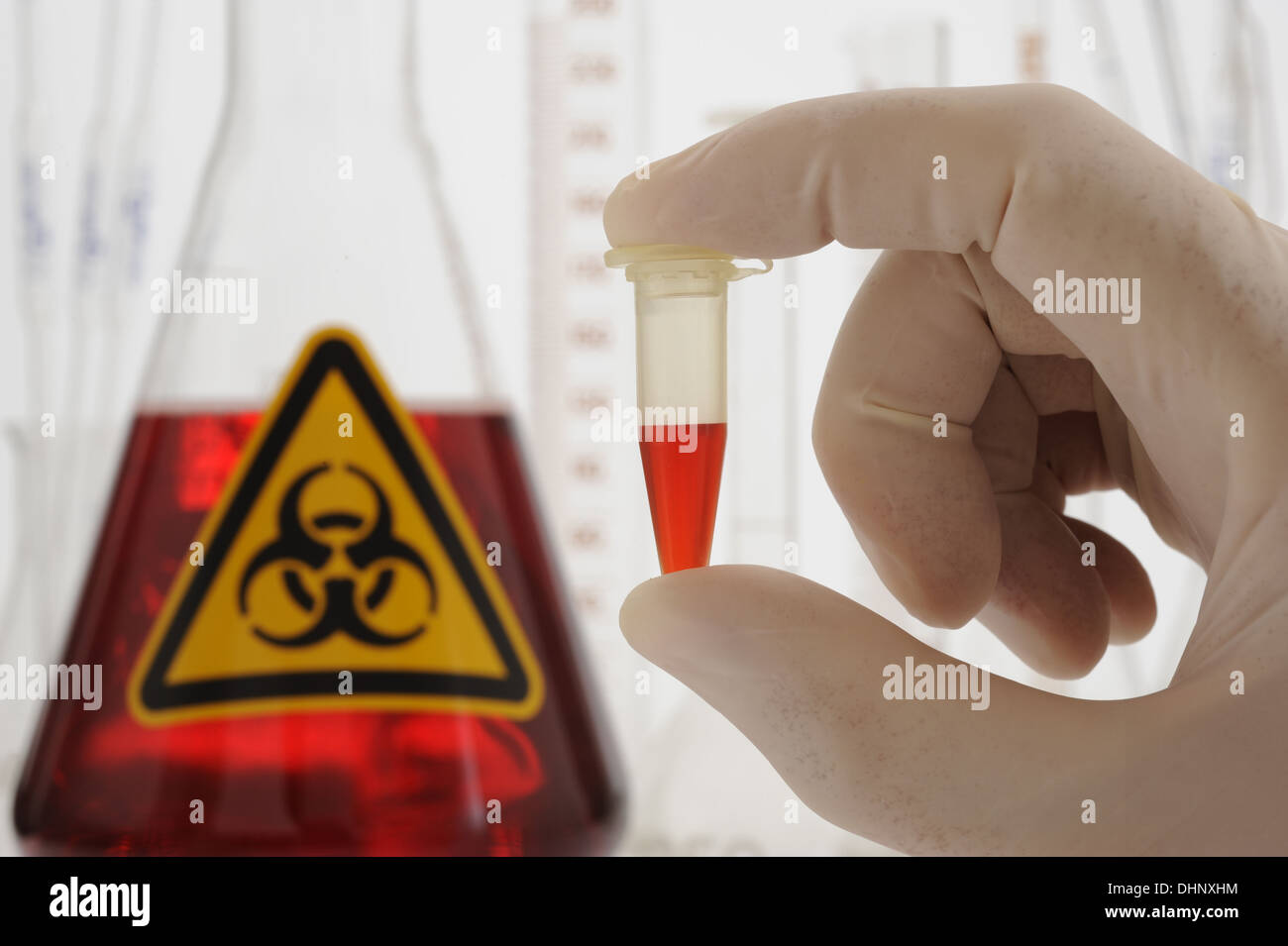 chemistry lab with glasses and red fluid Stock Photo