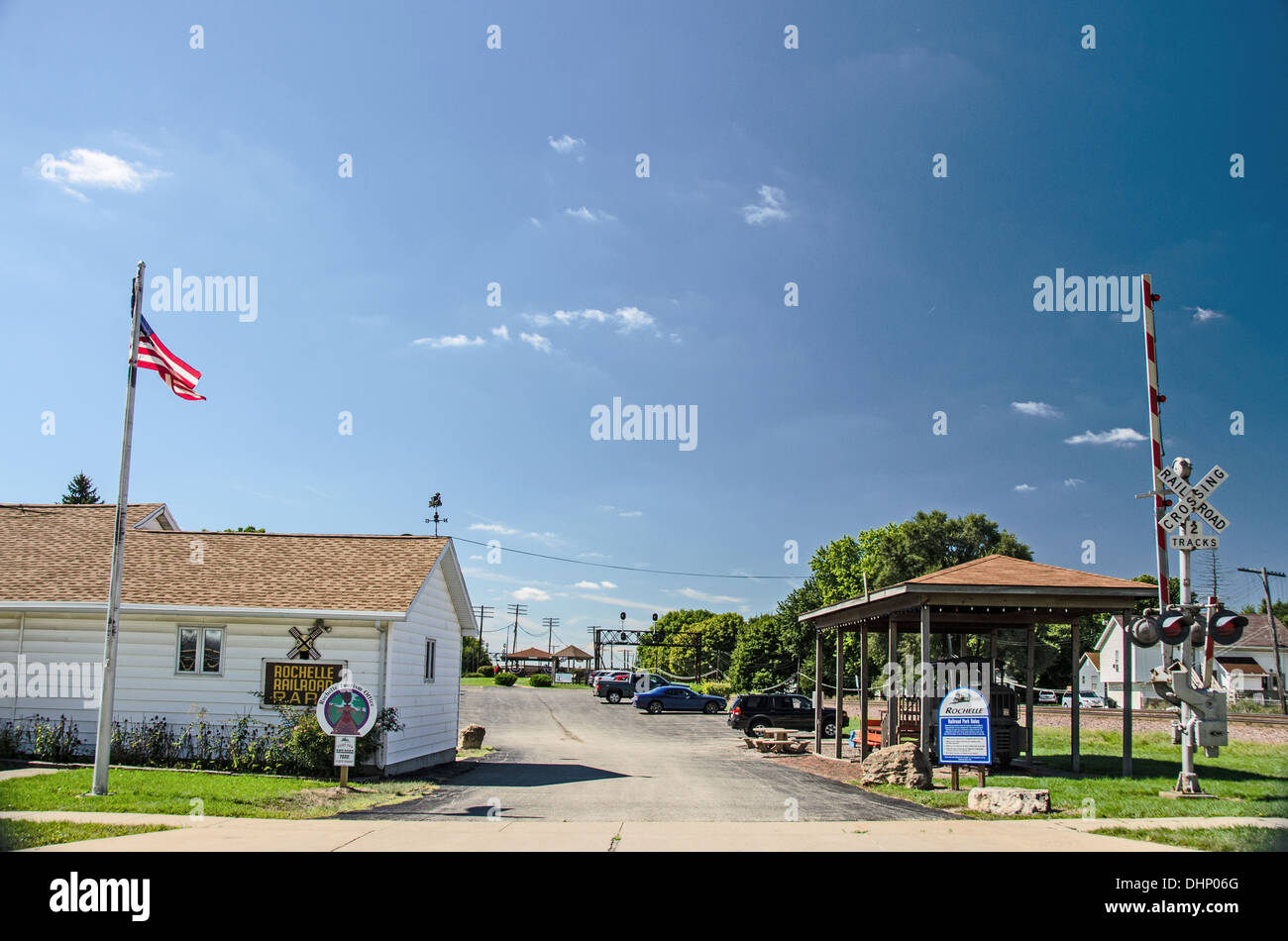 The Rochelle Railroad Park in Rochelle, Illinois, a town along the Lincoln Highway, - Stock Image