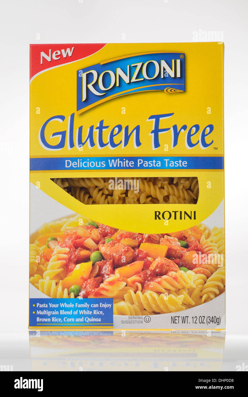 Unopened Box of Ronzoni Gluten Free pasta rotini on white background cutout. USA - Stock Image