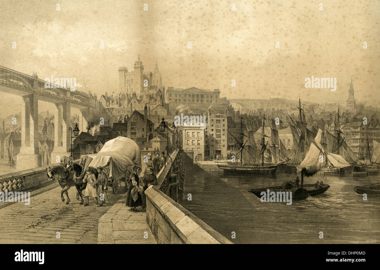 Antique engraving, circa 1850, view of Newcastle Upon Tyne - Stock Image