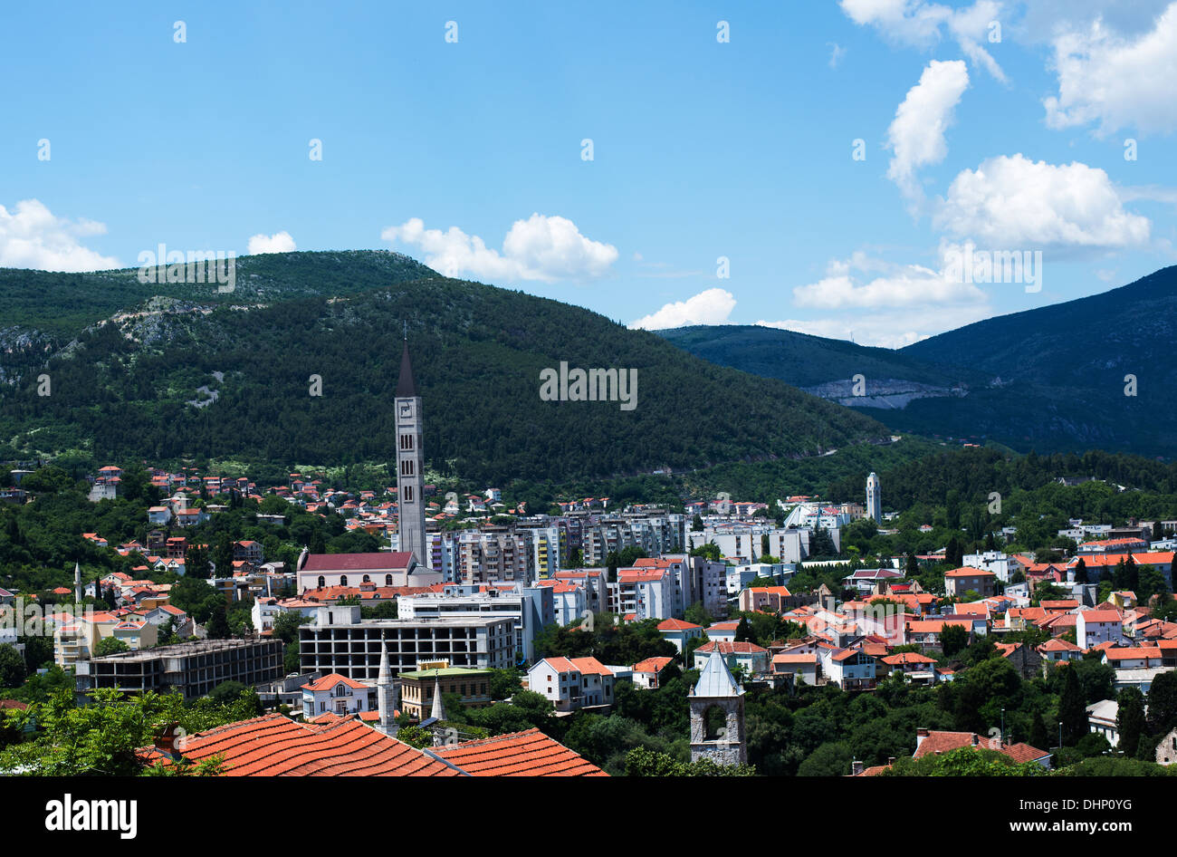 A view of Mostar. Bosnian side in front and the Catholic Croat side in the back. - Stock Image