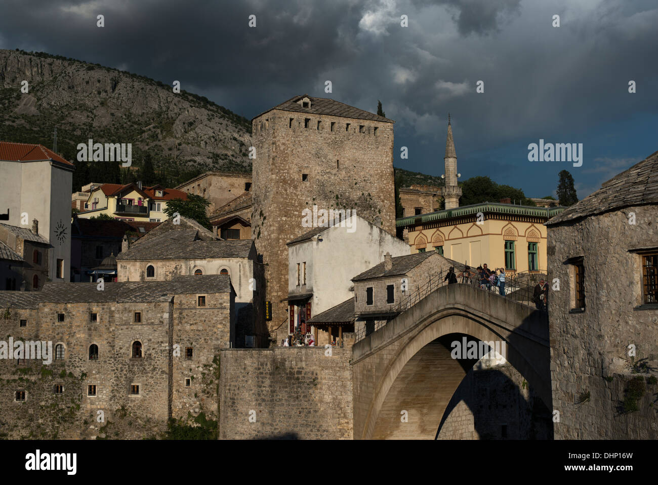 The beautiful old ( rebuilt after the war ) Mostar bridge. - Stock Image