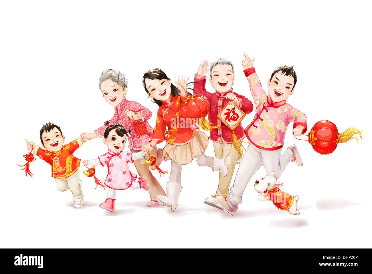 Big family celebrating Chinese New Year Stock Photo