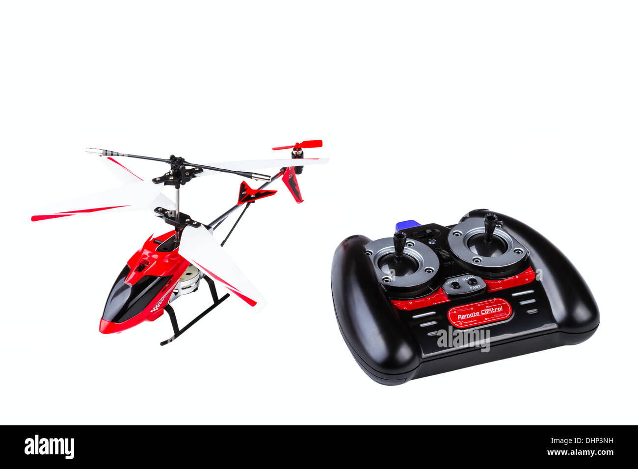 radio-controlled model of the helicopter with the control panel isolated on white background - Stock Image