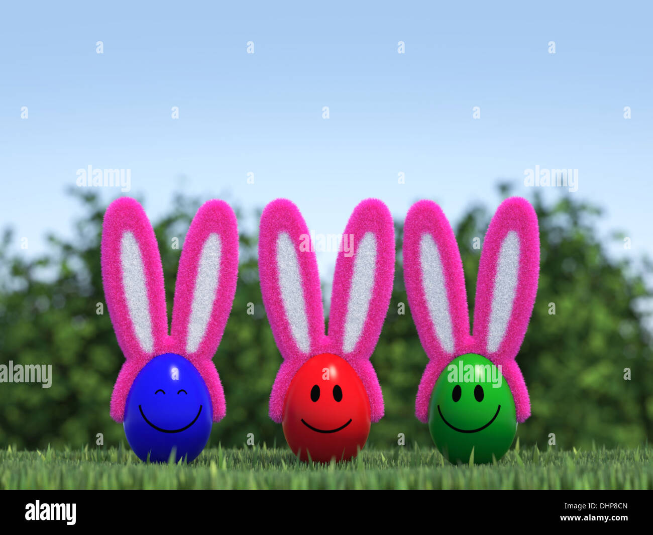 Smiling Easter Eggs Wiht Bunny Ears