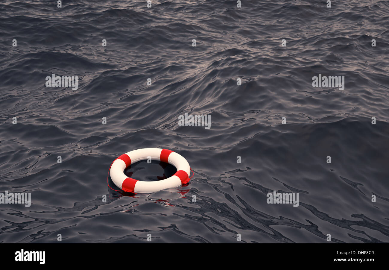 Lifebelt in the ocean - Stock Image