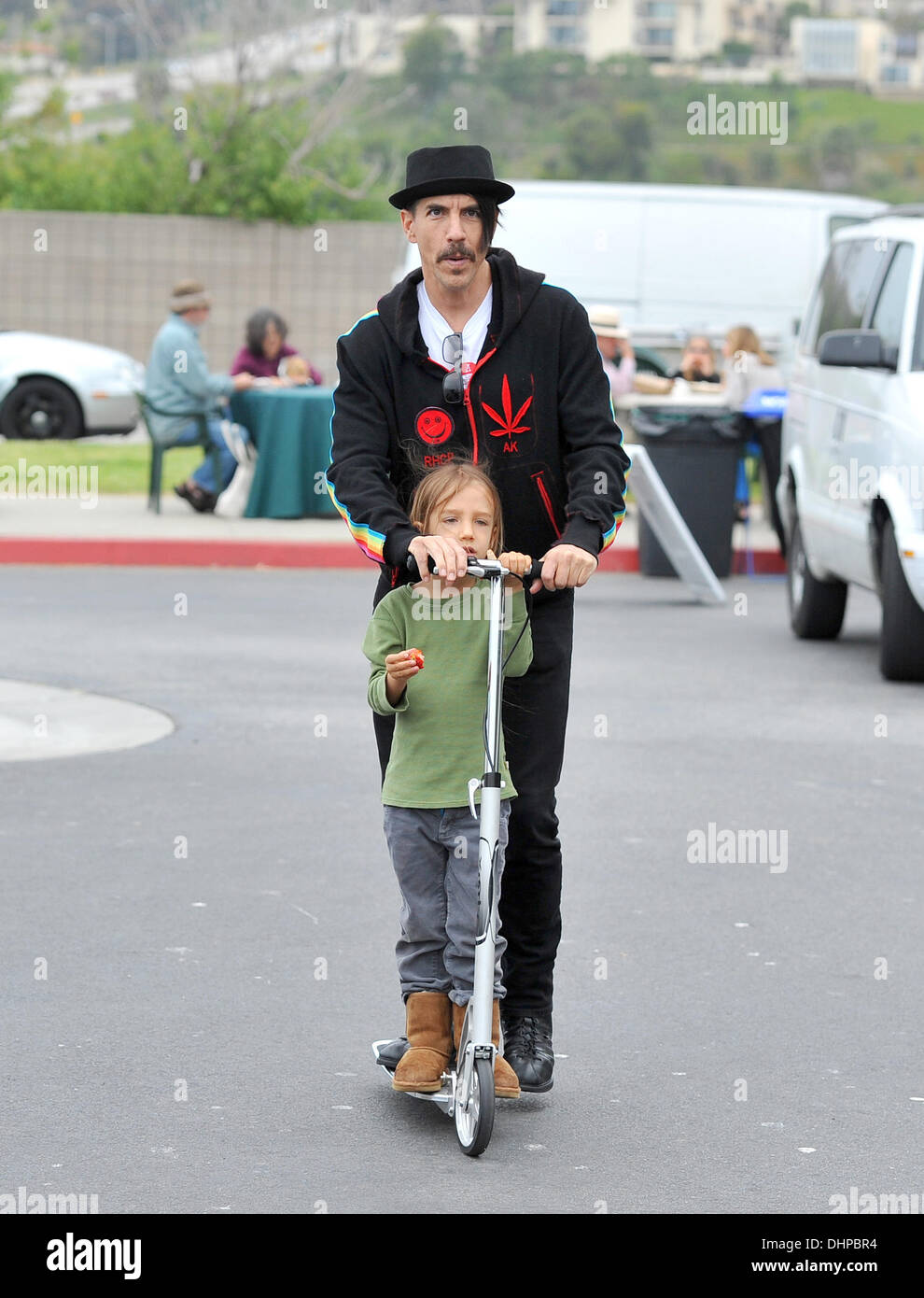 Anthony Kiedis of The Red Hot Chilli Peppers takes a ride on
