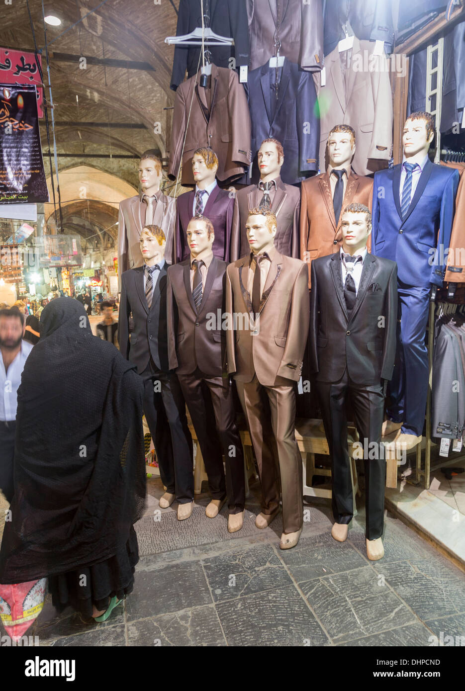 men's suits on sale in main bazar, Isfahan, Iran - Stock Image