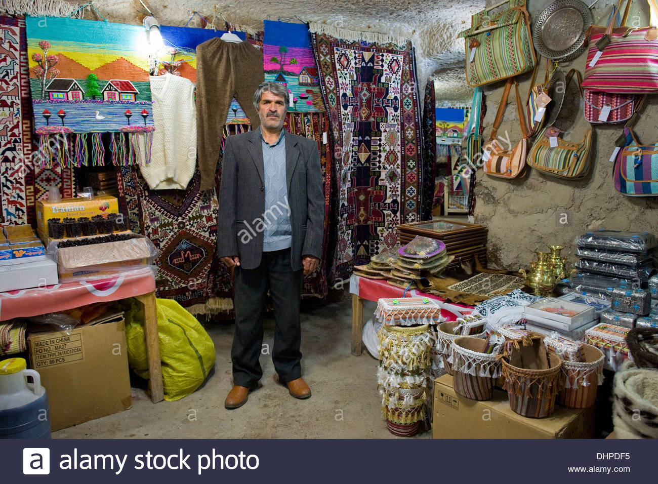 Iran,Azerbaijan region,Kandovan,carpet shop Stock Photo