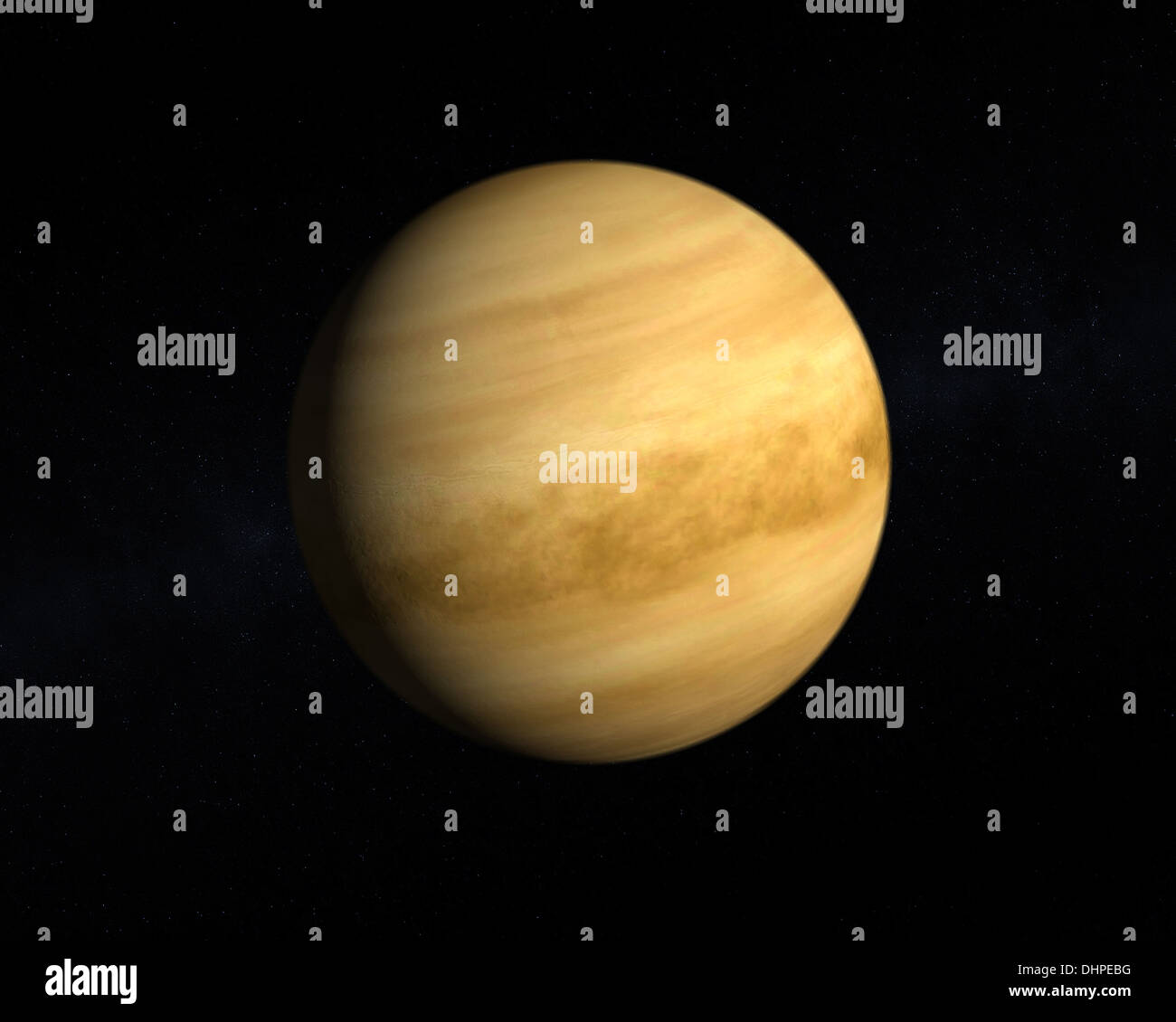 A rendering of the Planet Venus on a starry background. - Stock Image