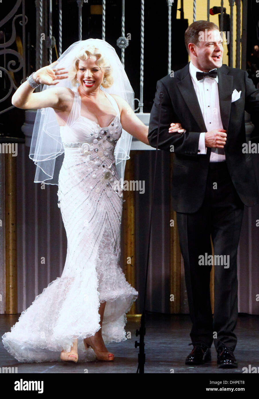 Megan Hilty And Clarke Thorell Closing Night Curtain Call For The Encores Concert Of 'gentlemen Prefer Blondes' At New York City Center: Gentlemen Prefer Blondes Wedding Dress At Websimilar.org