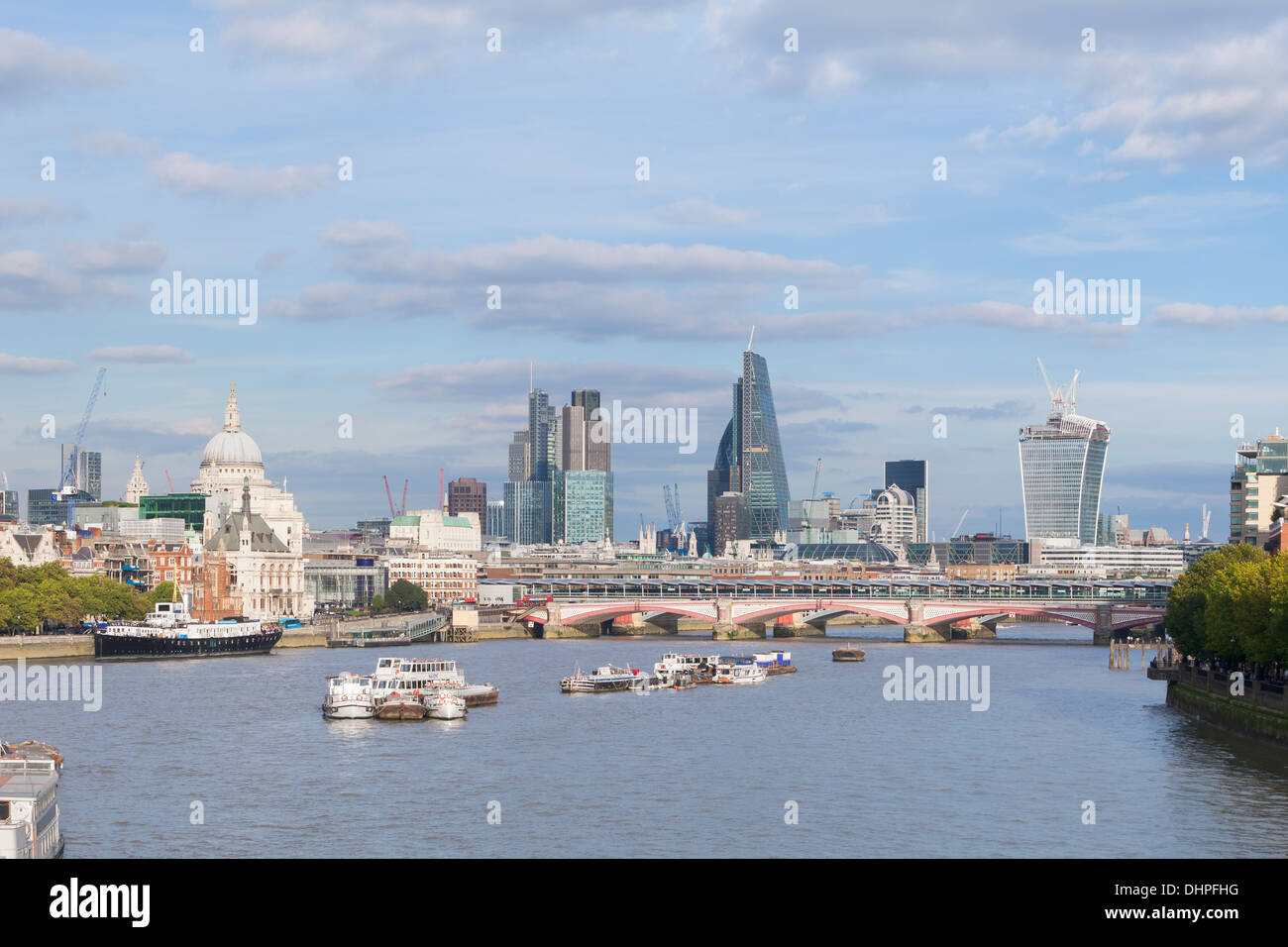 London skyline and river Thames, London, England Stock Photo