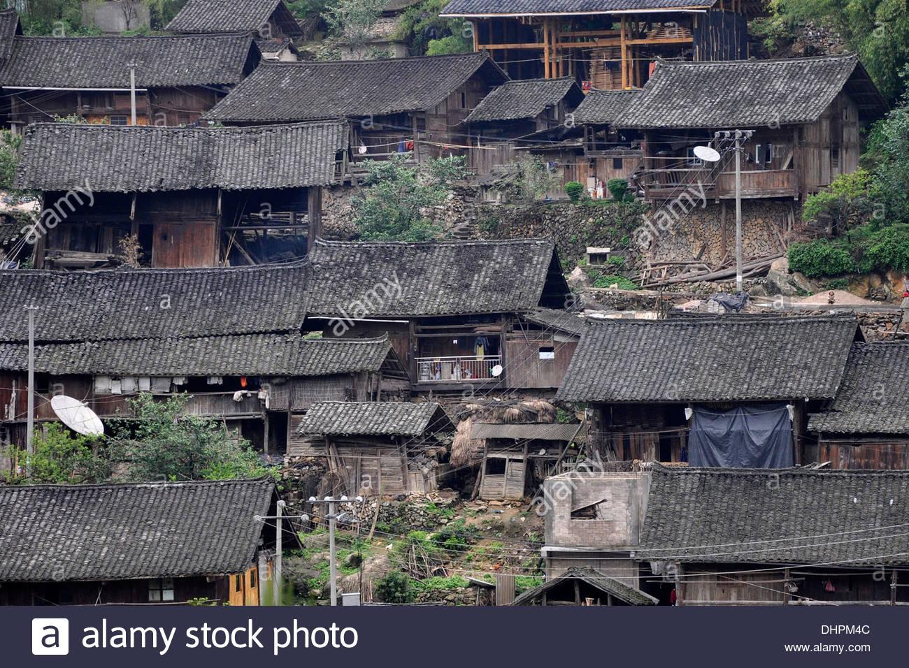China,Guizhou province,traditional houses Stock Photo