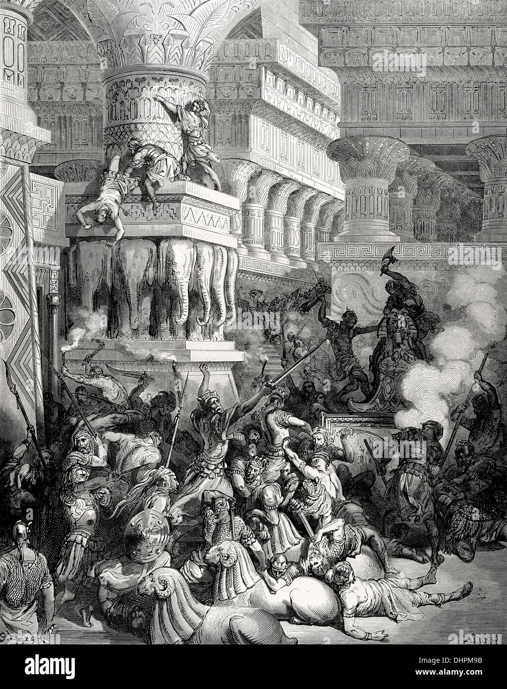 Jonathan Destroys the Temple of Dago. Bible Illustrations of Gustave Dore. - Stock Image