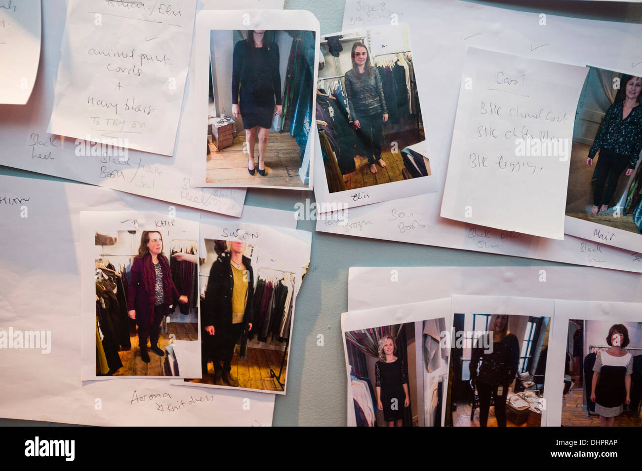 Polaroid pictures and notes showing models clothes and accessories backstage at a catwalk fashion show UK - Stock Image