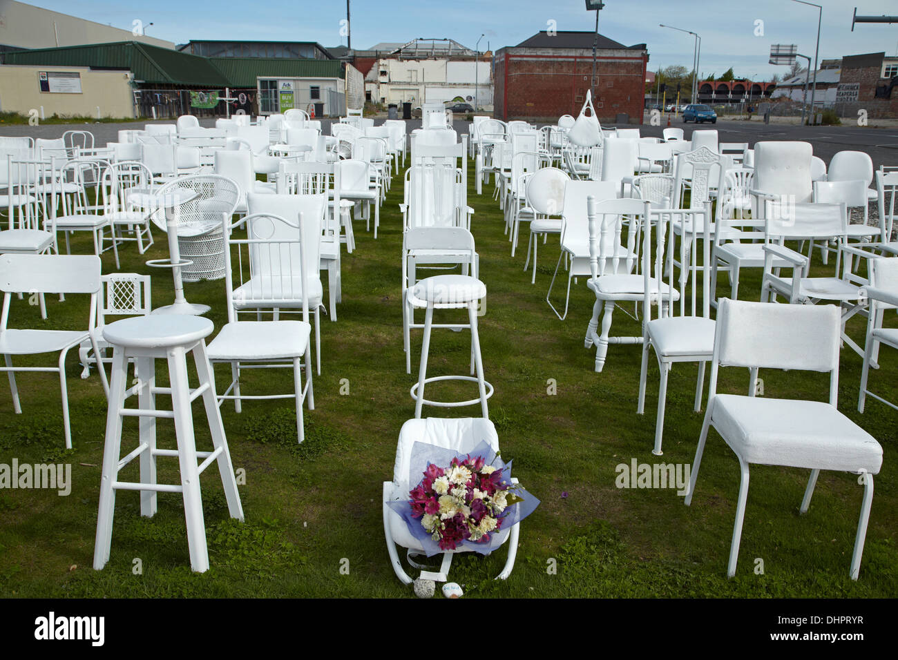 185 Empty Chairs memorial for 2011 earthquake victims, Christchurch, Canterbury, South Island, New Zealand - Stock Image