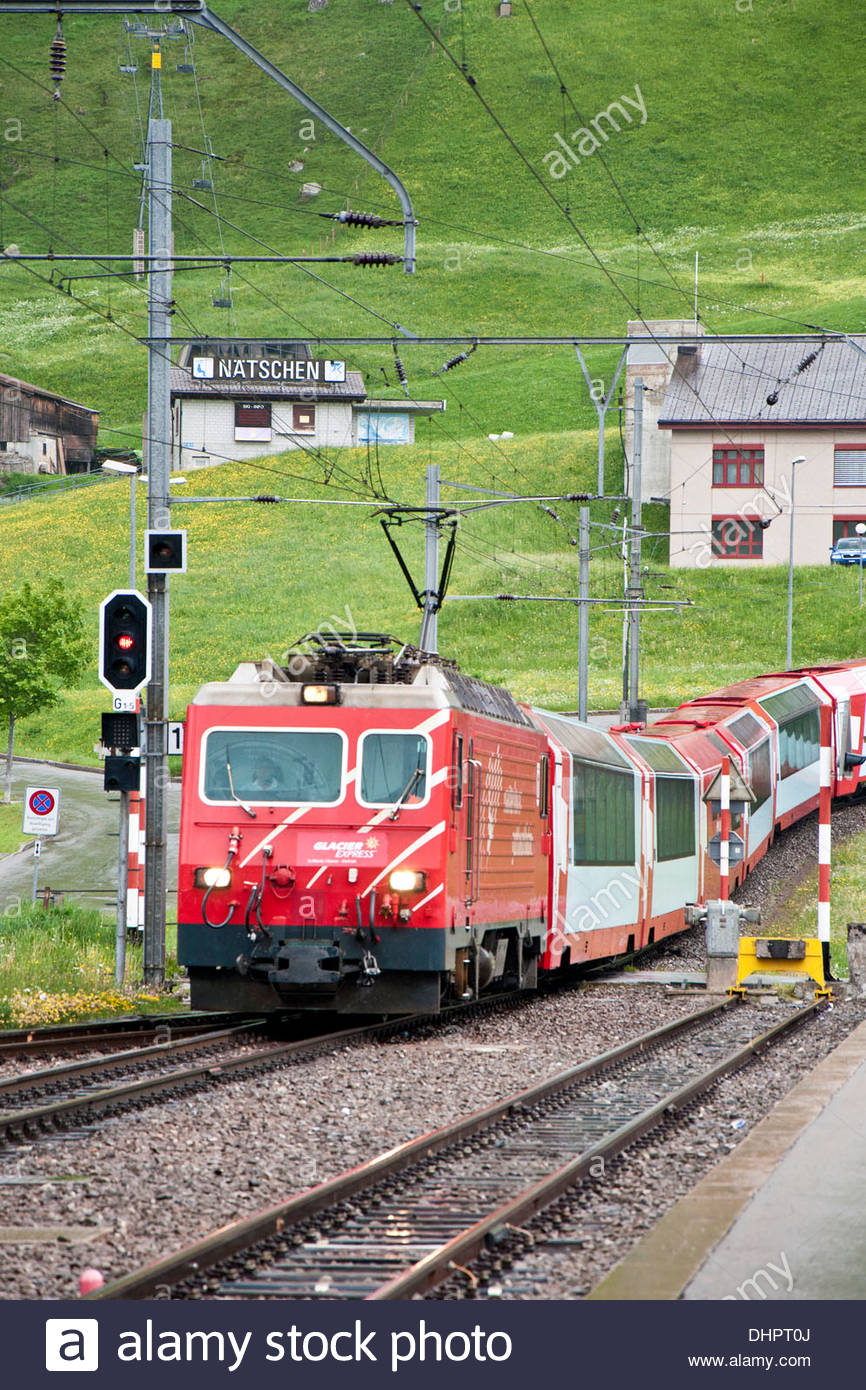 Switzerland,Canton Uri,Andermatt,Glacier Express - Stock Image