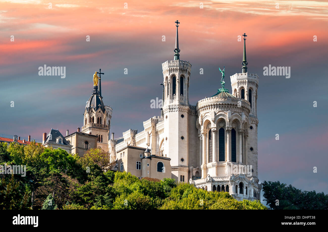 the apse of the basilica of notre dame de fourviere in the historical center of Lyon - Stock Image