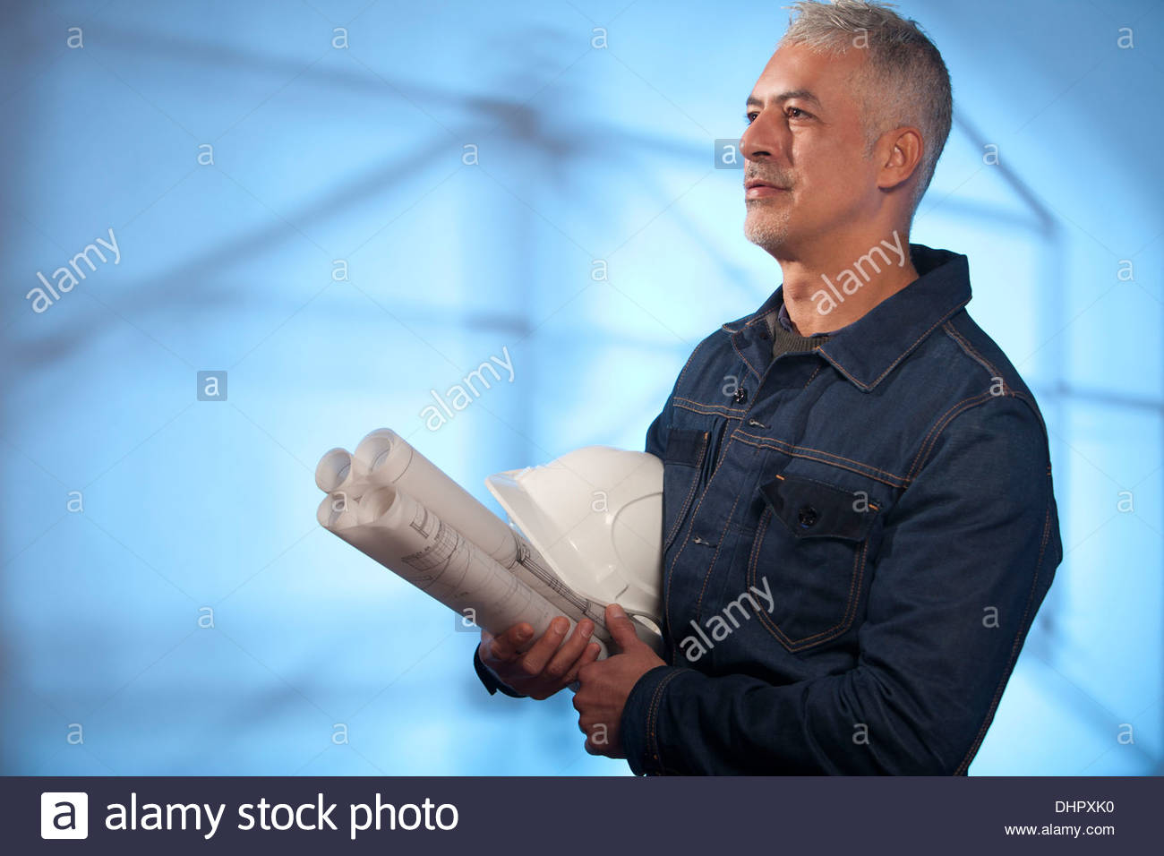 construction site architect scaffolding engineer - Stock Image