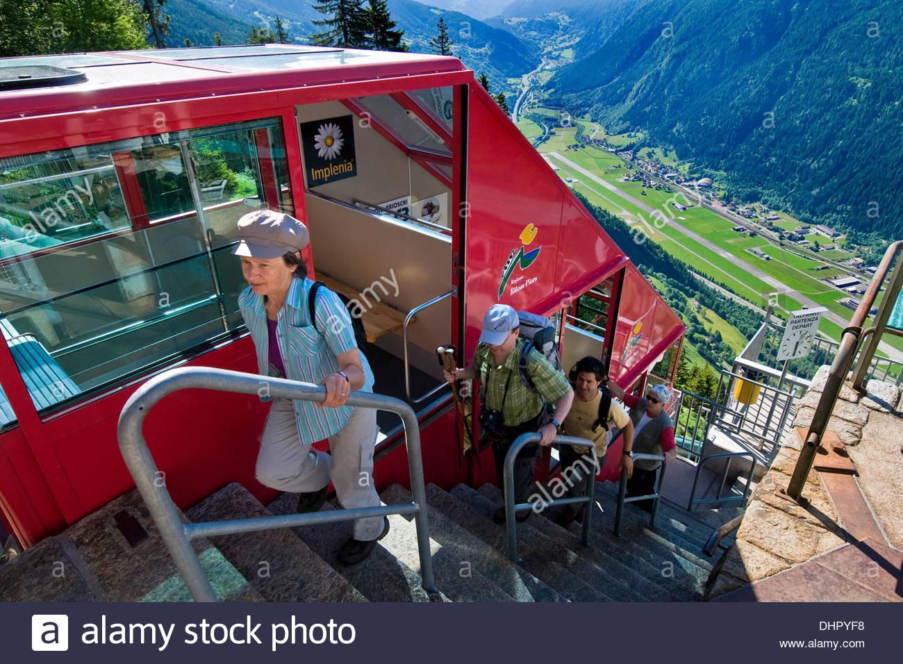 Switzerland,Canton Ticino,Ritom-Priora,cable car rope Stock Photo