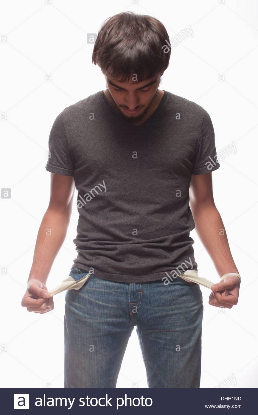 man teenager broke poverty no money depressed - Stock Image