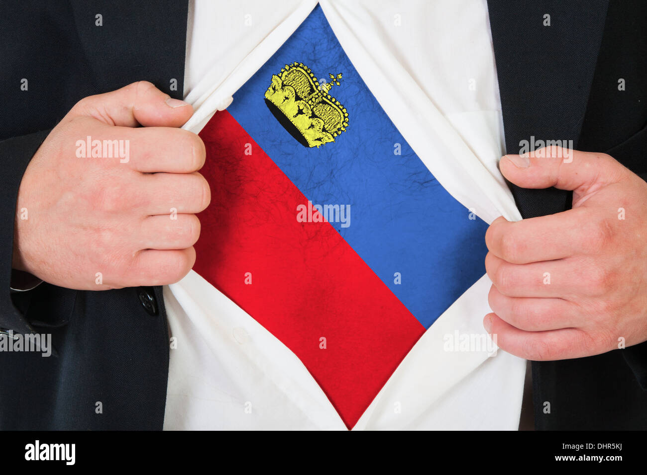 The Liechtenstein flag - Stock Image