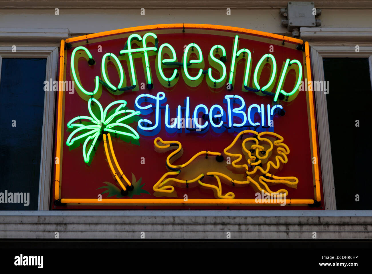 Neon sign of a coffee shop in Amsterdam, Holland - Stock Image