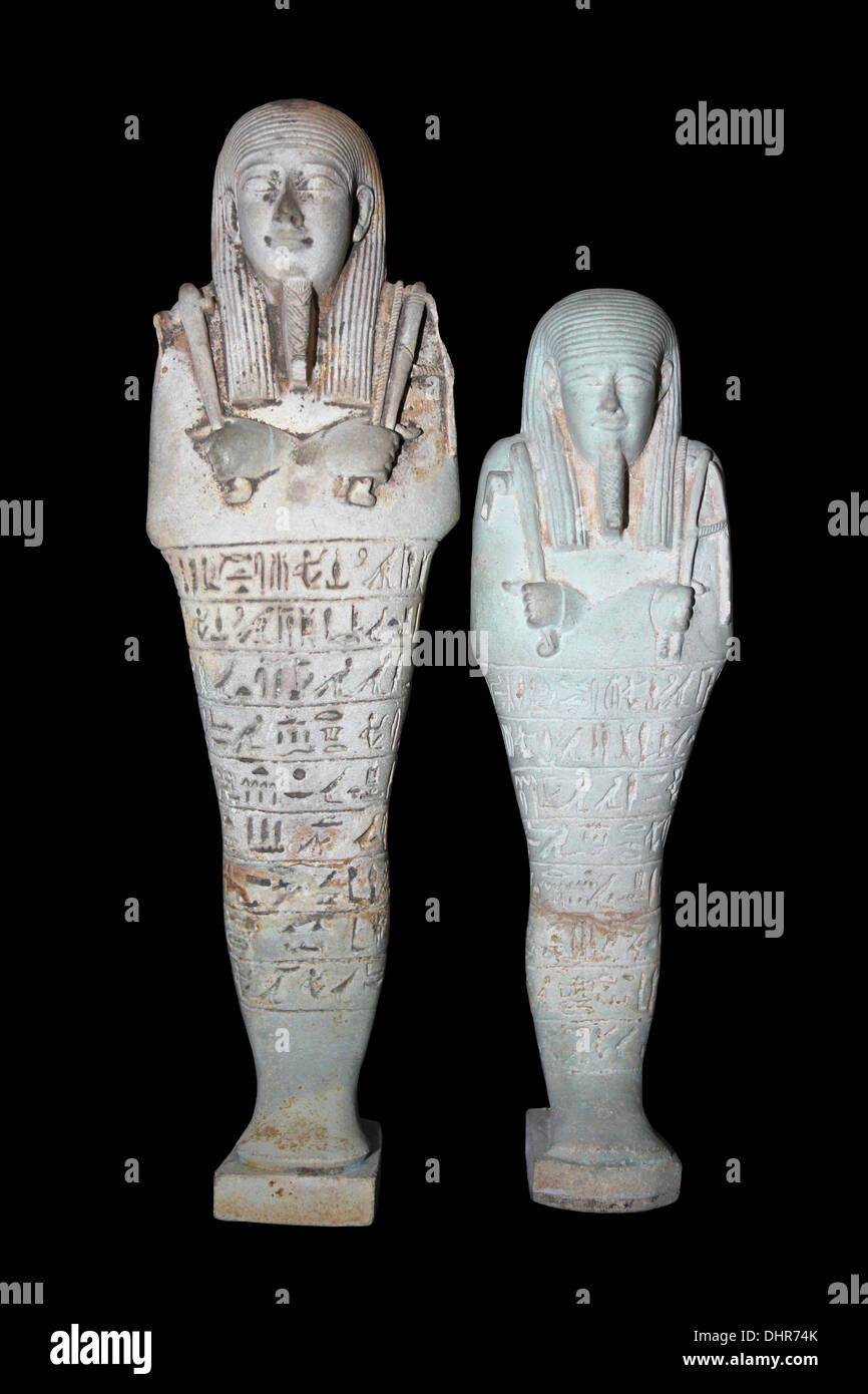 Shabti Figures Carved From Limestone - Stock Image
