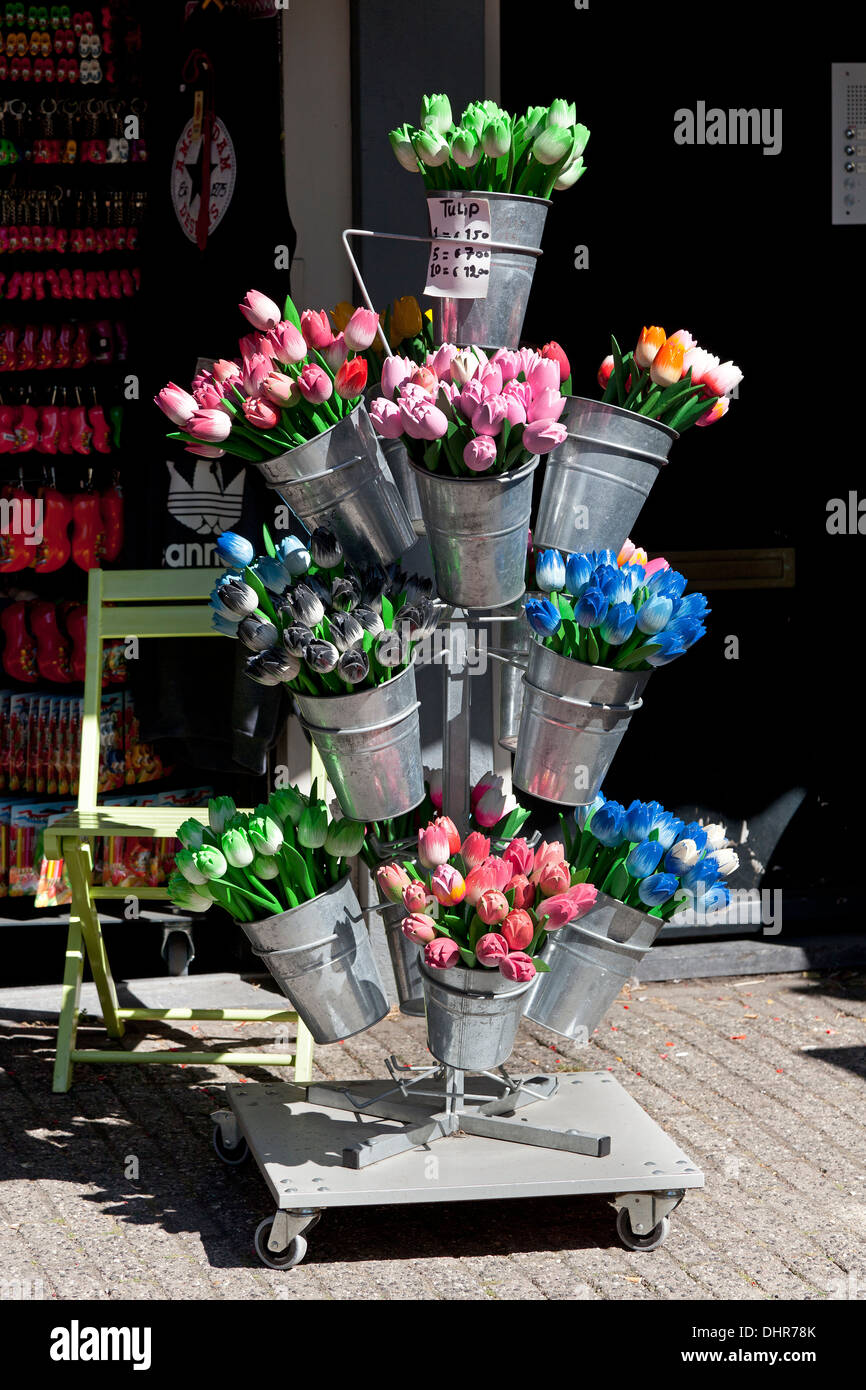 Wooden tulips as souvenir in Amsterdam, Netherlands - Stock Image