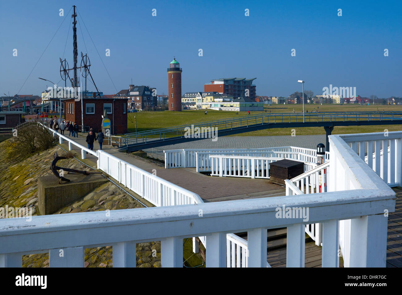 Pier at Alte Liebe, Cuxhaven, Lower Saxony, Germany - Stock Image