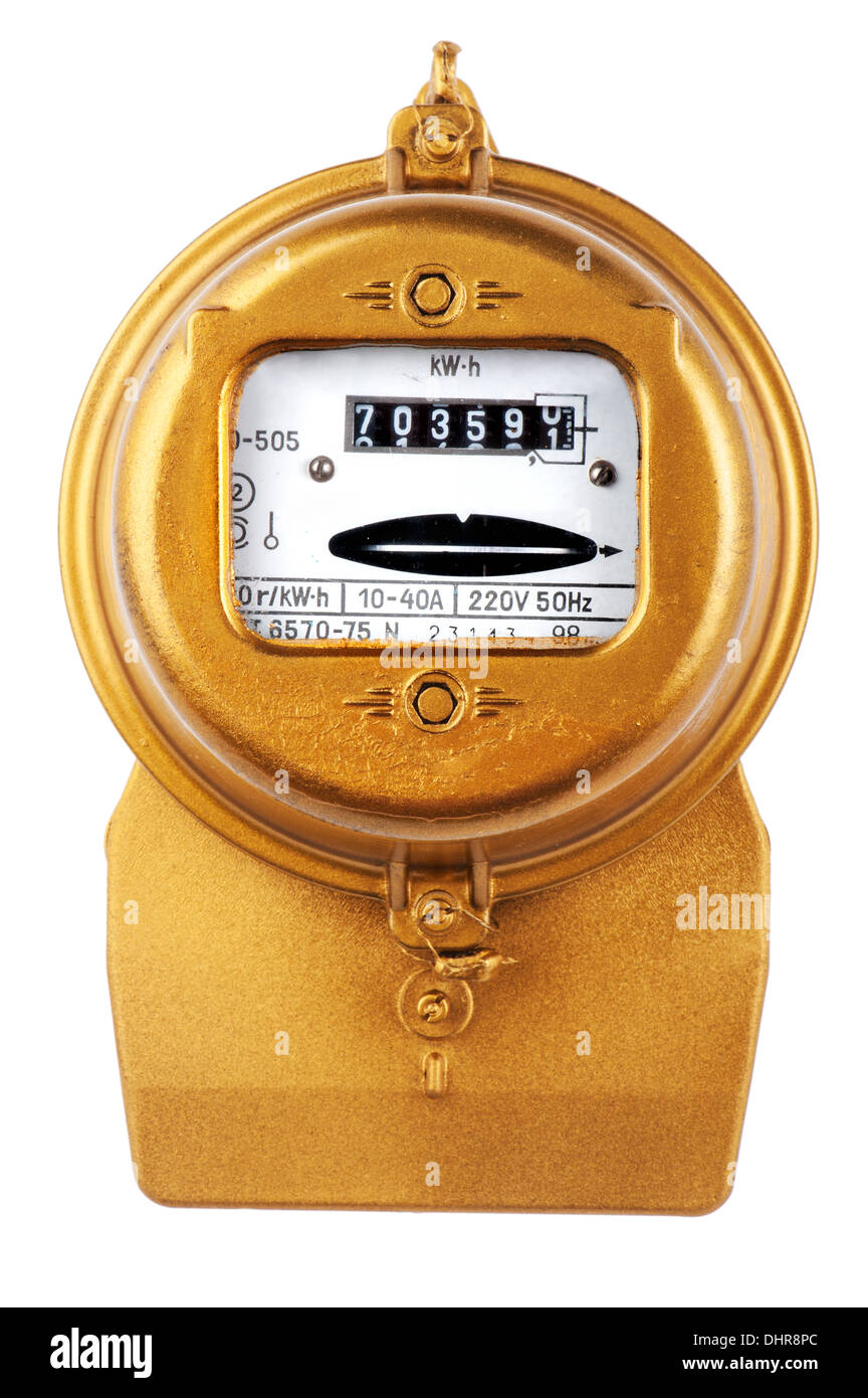 object on blue - Golden retro electric meter - Stock Image