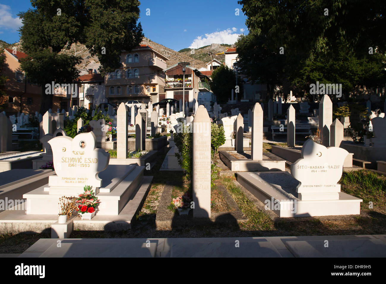 muslim cemetery, old town, east side, mostar, bosnia and herzegovina, europe Stock Photo