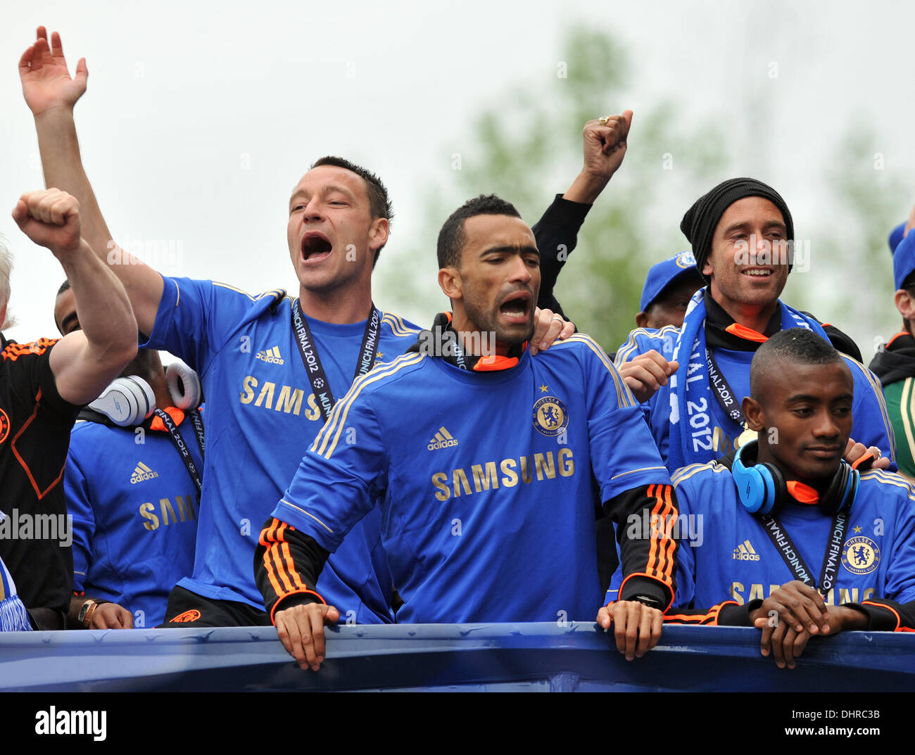 John Terry, Jose Bosingwa, Raul Miereles and Salomon Kalou Chelsea FC  European Champions League victory parade - The European Champions League  Trophy is displayed from an open top bus by players as