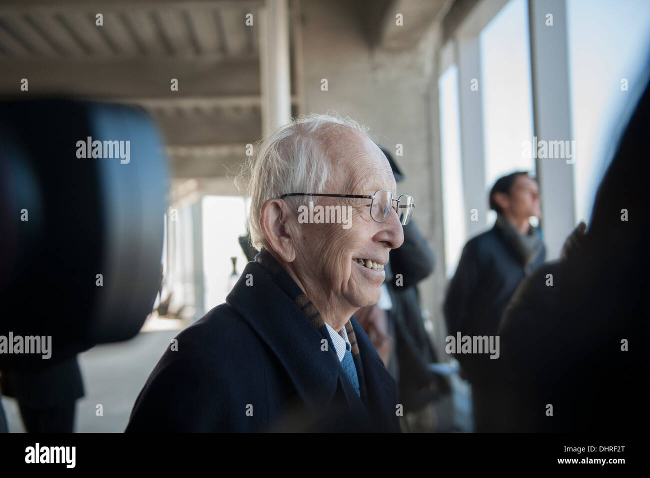 Fumihiko Maki, the architect of 4 World Trade Center in Manhattan, admiring the view from the 68th floor. - Stock Image