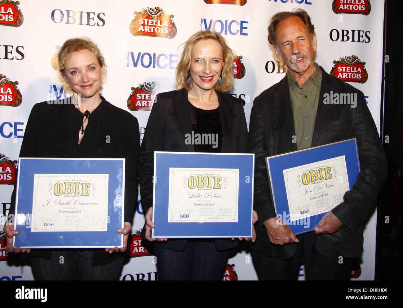 J. Smith-Cameron, Laila Robins and Jon De Vries  The 57th Annual 'Village Voice' Obie Awards Ceremony held at Webster Hall - Press Room  New York City, USA  - 21.05.12 - Stock Image