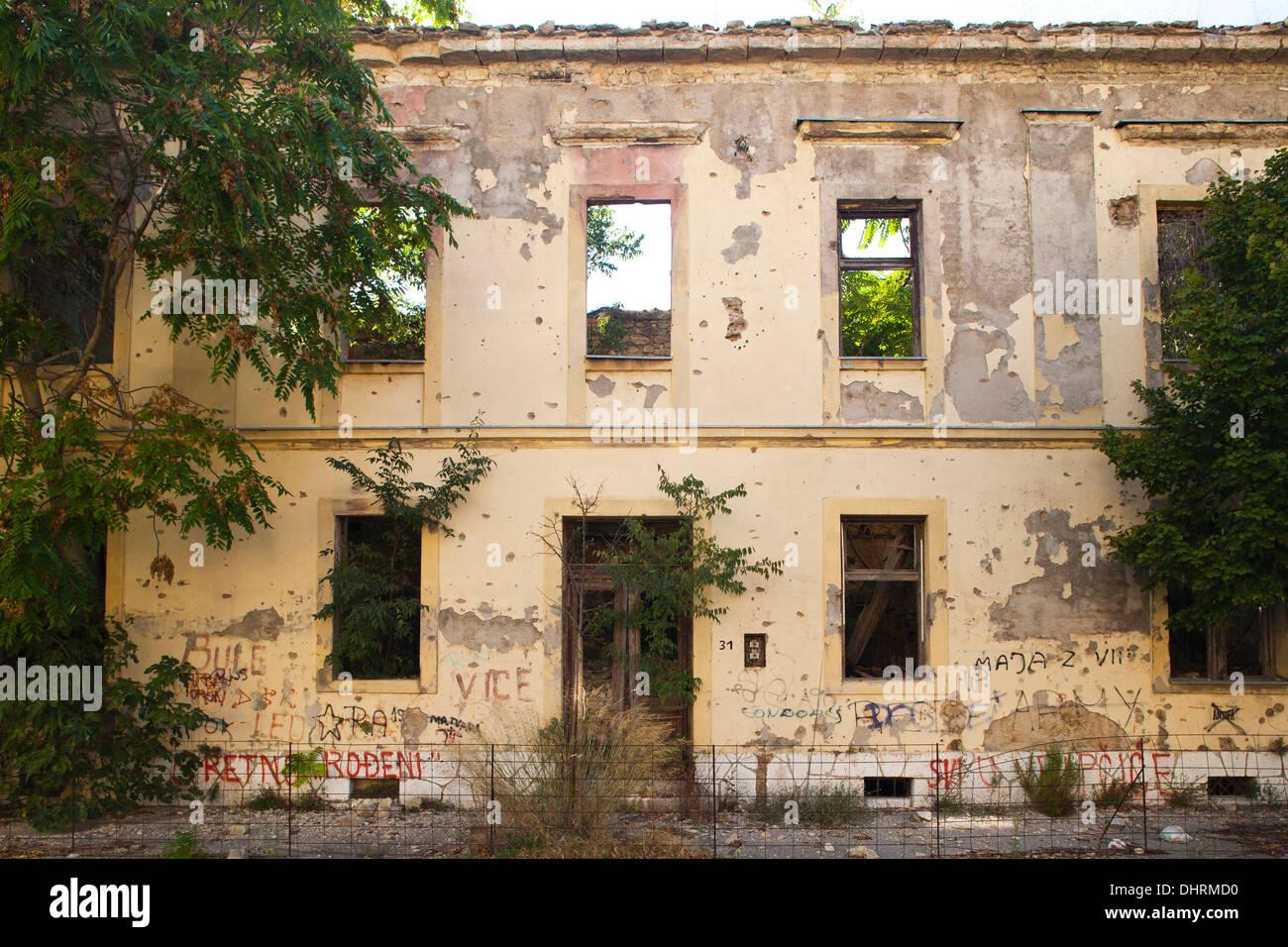 bombed building, west side, mostar, bosnia and herzegovina, europe - Stock Image