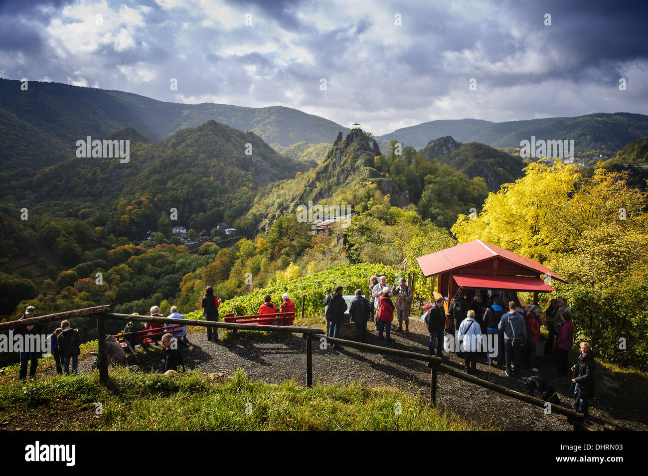 Wine bar on the Red Wine Trail on Altenahr - Stock Image