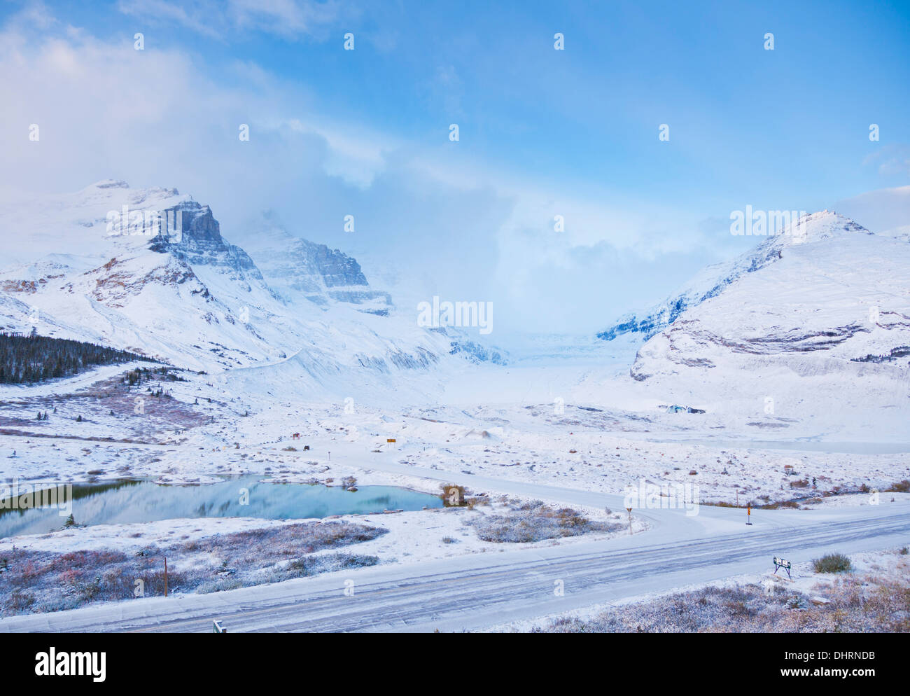 The Athabasca glacier and the Columbia Icefield Jasper National Park Canadian rockies Alberta Canada North America - Stock Image