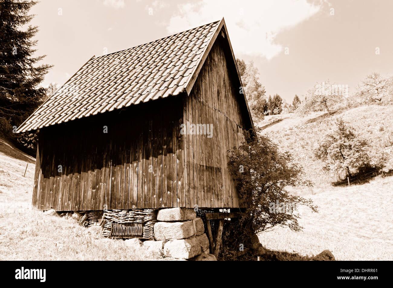 Haystacks in Bermersbach Black Forest Germany Stock Photo